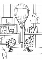 Раскраска Нолик и Симка на книге