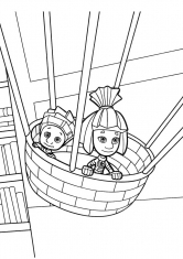 Раскраска Нолик и Симка на воздушном шаре