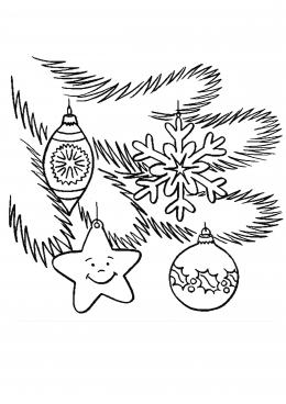 Раскраска еловая ветка с игрушками