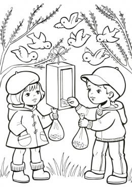 Раскраска Дети кормят птиц, скачать и распечатать ...