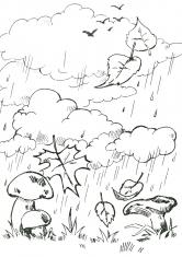 Раскраска Грибы под дождем