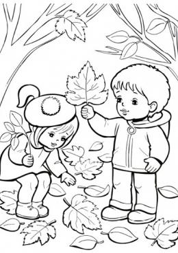 Раскраска Дети собирают листья, скачать и распечатать ...