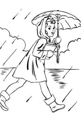 Картинки раскраски девочка осень