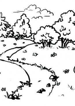 раскраска весенний пейзаж скачать и распечатать раскраску