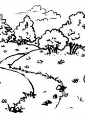 Раскраска Весенний пейзаж