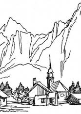 Раскраска Деревня в горах