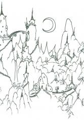 Раскраска Сказочные горы