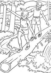 Раскраска Братья на прогулке