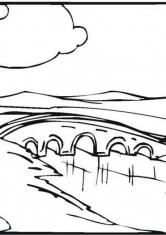 Раскраска Мост через реку