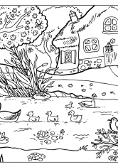 Раскраска Домик у реки в деревне