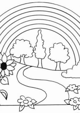 Раскраска Летняя радуга, скачать и распечатать раскраску раздела Природа
