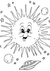 Раскраска Солнце и планеты