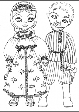 картинки раскраски русский народный костюм