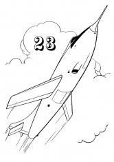 Раскраска Реактивный самолёт на 23 февраля