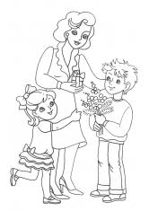 раскраски день мамы праздники 8 марта маме скачать и