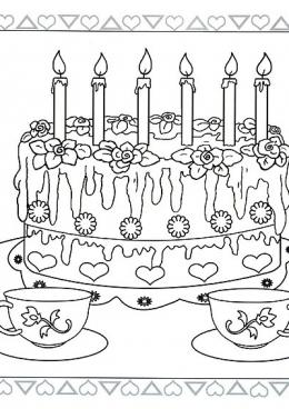 С днём рождения раскраски торты