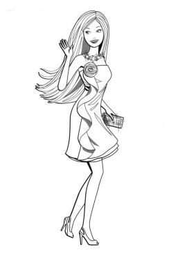 Раскраска Барби в вечернем платье, скачать и распечатать ...