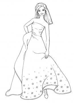 Раскраска Барби в роскошном платье, скачать и распечатать ...