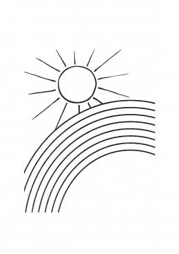 Раскраска Солнце и радуга, скачать и распечатать раскраску ...