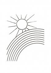 Раскраска Солнце и радуга