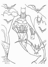 Раскраска Бэтмен и летучие мыши