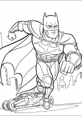 Раскраска Бэтмен мчится на помощь