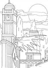 Раскраска Бэтмен на крыше