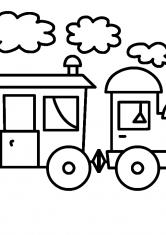 Раскраска Поезд с вагоном