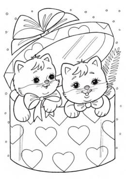 картинки раскраски котики