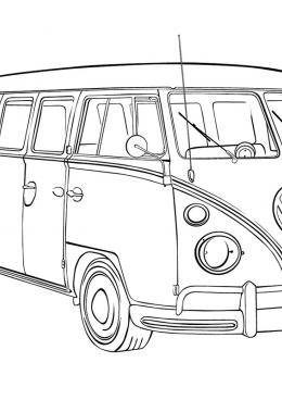 Раскраска Автобус фольксваген, скачать и распечатать ...