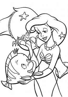 раскраски русалочка дисней мультфильмы сказки аниме