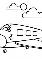 Раскраска Самолёт летит в облаках