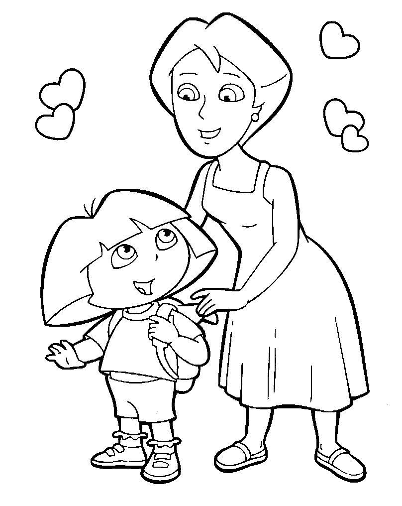 Раскраска мама и малыш - 6