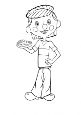 Раскраска Дядя Федор ест бутерброд