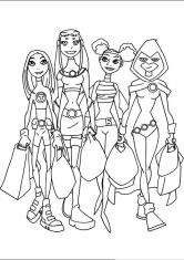 Раскраска Девушки из юных титанов