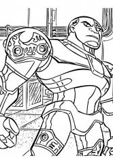 Раскраска Юный титан Киборг