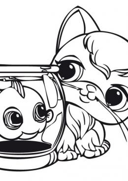 Раскраска Рыбка в аквариуме рядом с котом, скачать и ...