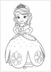 Раскраска София в нарядном платье