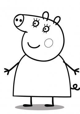 Раскраска Мама Свинка и дети, скачать и распечатать ...