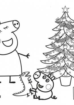 Раскраска Новый год в доме Пеппы, скачать и распечатать ...