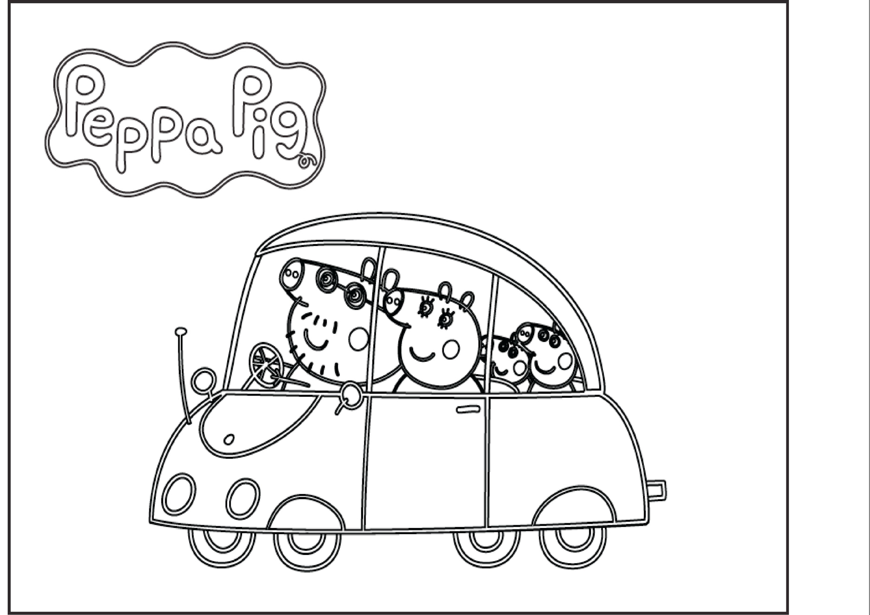 Свинка пеппа на машине раскраска