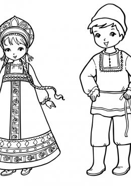 Раскраска Русский национальный костюм, скачать и ...
