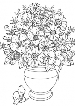Раскраска Полевые цветы в вазе, скачать и распечатать ...