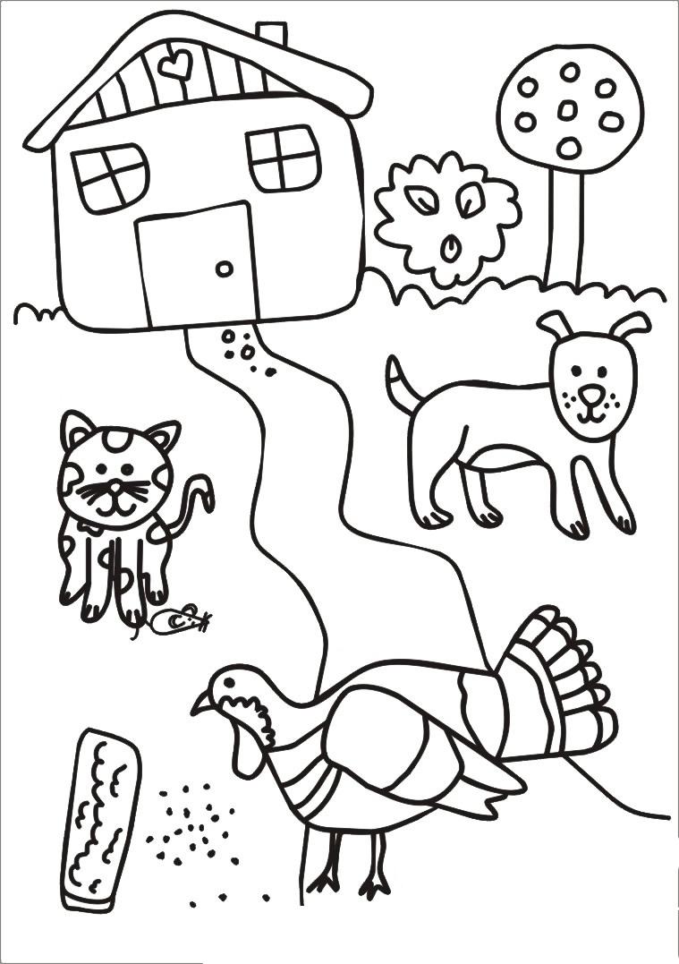 Кот, собака и индюк - razukrashki.com