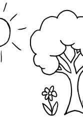 Раскраска Цветы под деревом и солнце