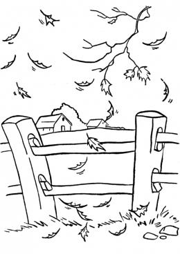 Раскраска Осень в деревне, скачать и распечатать раскраску ...