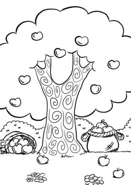 Раскраска Осенние яблоки, скачать и распечатать раскраску ...
