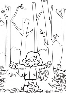 Раскраска Девочка в осеннем лесу, скачать и распечатать ...