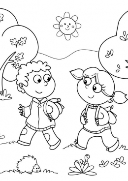 Картинка раскраска дети с рюкзаком рюкзаки в москве simms