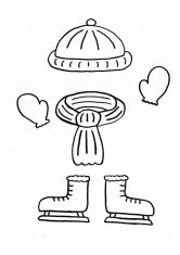 Раскраска Коньки, шапка и шарф